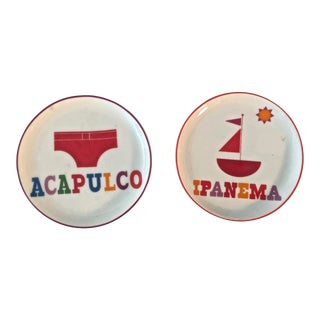 Jonathan Adler Acapulco Impanema Plates - a Pair For Sale