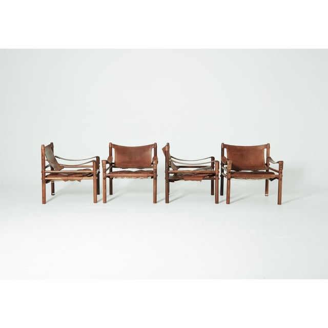 Animal Skin Rare Set of Four Arne Norell Safari Sirocco Chairs, Sweden, 1960s For Sale - Image 7 of 13