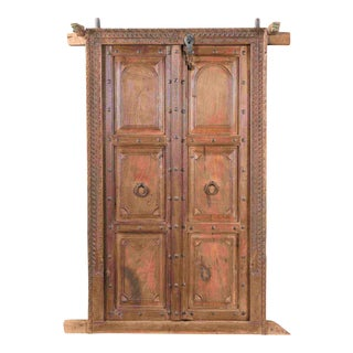 1900's Antique Door With Carved Frame For Sale