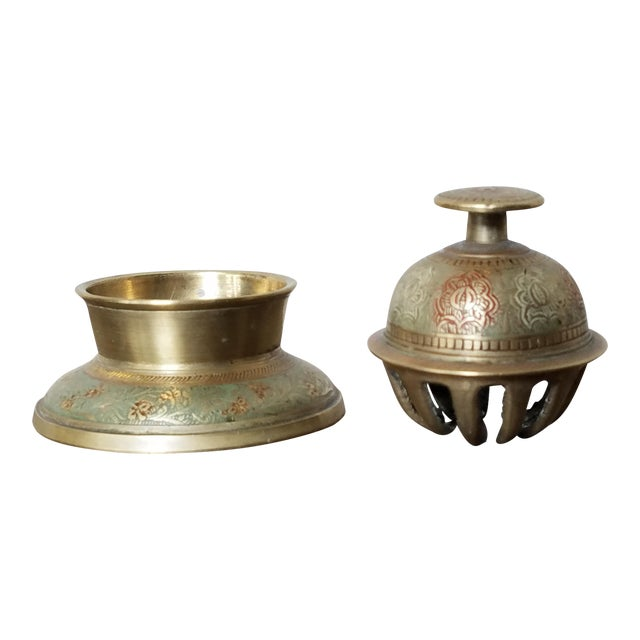 Etched Brass Moroccan Elephant Bell For Sale