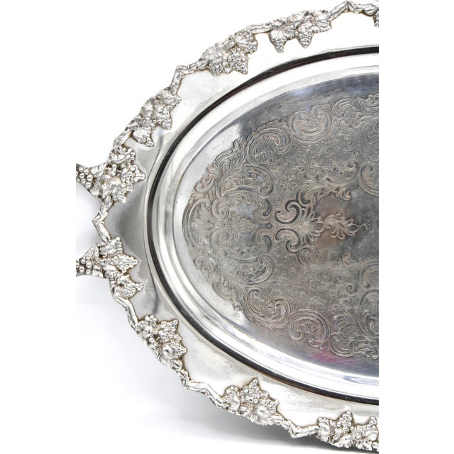 Mid 20th Century Mid-Century Silver Plate Handled Serving Tray For Sale - Image 5 of 13