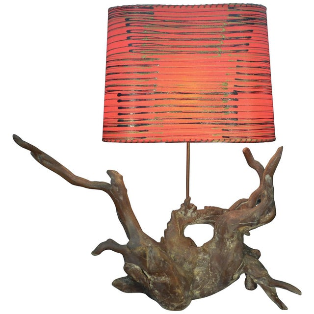 Vintage Driftwood Lamp With Shade - Image 1 of 6
