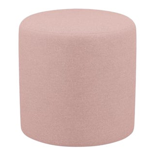 Drum Ottoman in Blush Velvet For Sale
