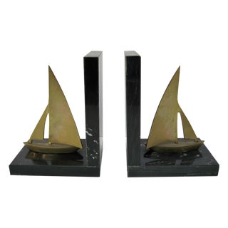 Mid-Century Brass Sailboat Bookends - Pair
