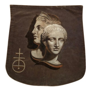 Roman/Italian Faces Painted on Mohair Fabric For Sale