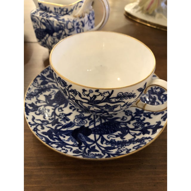 Staffordshire Peacock Pattern English Tea Set For Sale - Image 9 of 13