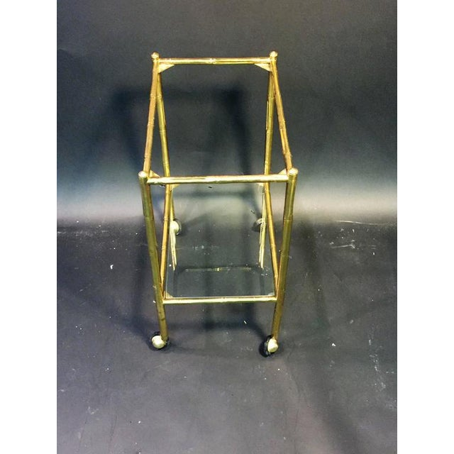 Brass EXCEPTIONAL PAIR OF BAQUES BRASS BAMBOO NESTING TABLES ON WHEELS For Sale - Image 7 of 10