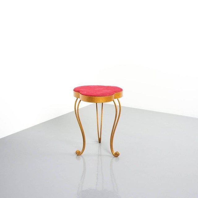 Fabric Pair of Pier Luigi Colli Gold Iron Clover Stools Red Fabric, Italy, 1950 For Sale - Image 7 of 9