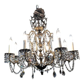 Antique 1940s Brass and Crystal 8 Light Chandelier For Sale
