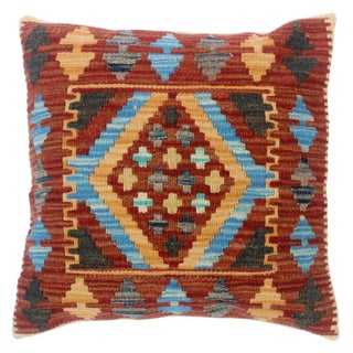 """Clyde Rust/Lt. Blue Hand-Woven Kilim Throw Pillow(18""""x18"""") For Sale"""