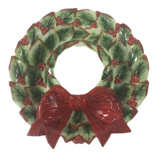 Fitz and Floyd Christmas Wreath Chip and Dip Platter For Sale