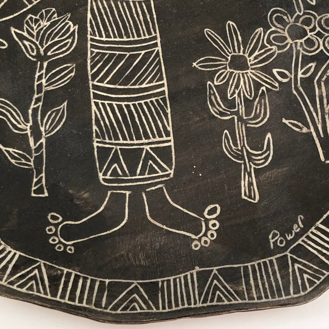 Ceramic Slab Pottery Plate With Sgraffito Earth Mother and Flowers For Sale - Image 7 of 13