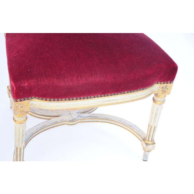 Red Vintage Crimson Velvet Chairs in the Style of Maison Jansen- Set of 5 For Sale - Image 8 of 12