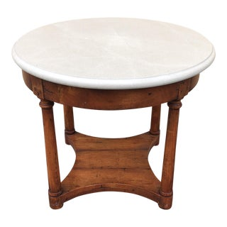 Wood & Stone Round Entry Table