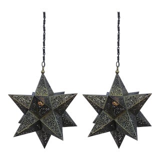 Pair of Moroccan Brass Star Lanterns For Sale