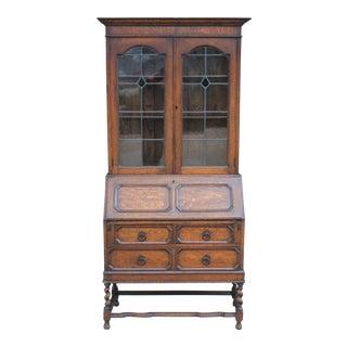 Antique English Oak Jacobean Barley Twist Fall Front Secretary Desk 1910 For Sale