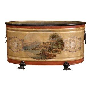 Late 20th Century French Hand-Painted Oval Tole Jardinière With Zinc Liner