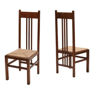 1920s Dutch Modernist High Back Chairs With Cord Seating - a Pair For Sale