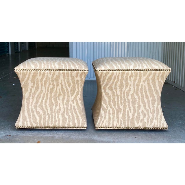 Vintage Contemporary Leopard Ottoman - a Pair For Sale In Miami - Image 6 of 6