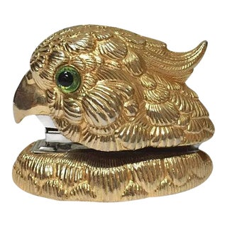 Mid Century Modern Cockatiel Stapler Glamour Desk Decor Gold Tone Parrot Statue