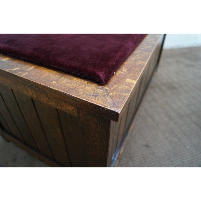 FBM & Co. Mission Oak & Cedar Lined Chest Bench For Sale - Image 5 of 10