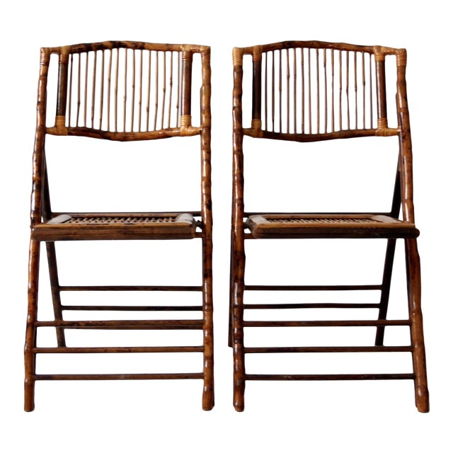 Vintage Bamboo Folding Chairs - a Pair For Sale