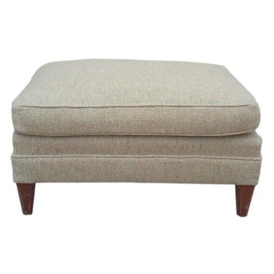 Mid-Century Oatmeal Upholstered Ottoman - Image 1 of 7
