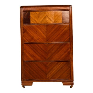 Art Deco Waterfall Matchbook Veneer Tall Dresser For Sale