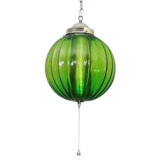 Mid century modern green glass hanging chandelier chairish aloadofball Gallery