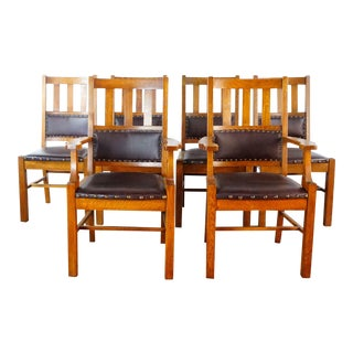 Arts & Crafts Mission Style Dining Chairs - Set of 6 For Sale