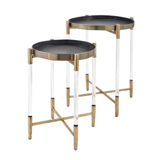 Modern Plexiglass and Brass Nesting Tables - a Pair For Sale
