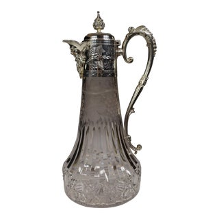 English 19th-Century Cut and Etched Glas Silver Plate Claret (Pitcher) For Sale
