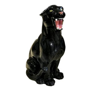Hollywood Regency Large Italian Hand Painted Ceramic Black Cat Panther Statue For Sale