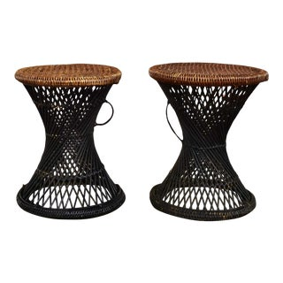 MCM Rattan and Cane Cinched Waist Side Accent End Tables or Low Stools a Pair For Sale