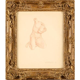 Edward Wormley (American, 1907-1995)- Rare Sanguine Drawing of an Antique Classical Kneeling Male Nude Figure For Sale