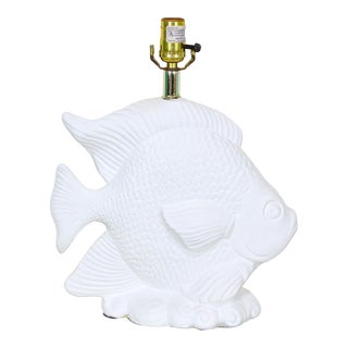 1970's White Plaster Gesso Fish Table Lamp For Sale