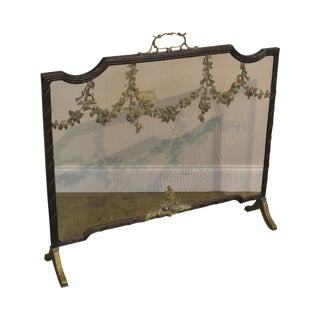 Maitland Smith Iron & Bronze French Louis XV Style Fire Screen For Sale