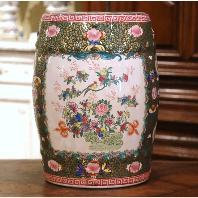 Decorate a den or a living room with this colorful vintage garden stool. Created in China, circa 1950 and round in shape,...