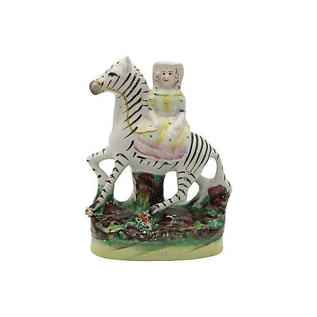 Staffordshire Antique Staffordshire Girl Riding Zebra For Sale - Image 4 of 4