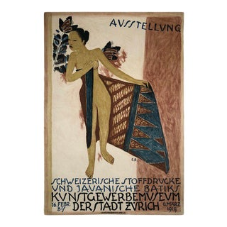 1919 Poster for Swiss Exhibition of Javanese Indonesian Batik Prints For Sale