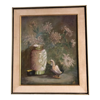 Vintage Original Still Life Painting With Duck & Flowers Original Frame For Sale