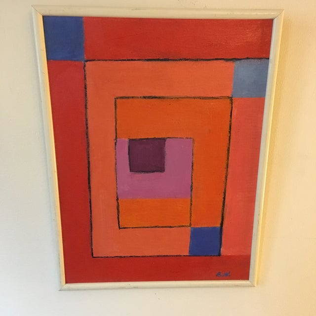 Beautiful & colorful geometric abstract painting. Framed & ready to hang. Signed Ruth or Roth.