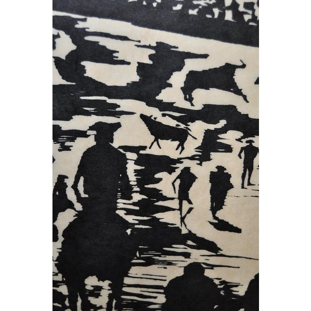 """Abstract Mid Century """"Don Quixote at the Paseo"""" Woodcut by Michael Christiana C.1961 For Sale - Image 3 of 11"""