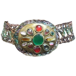 Artisan Glass Stone Buckle Woven Metal Belt C 1980s For Sale