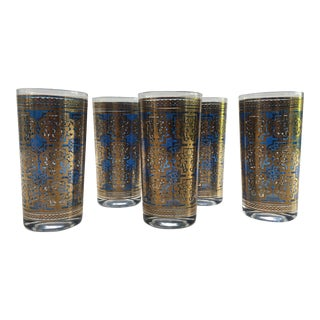 Blue and Gold Culver Style Vintage Glass Set - Set of 5 For Sale