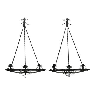 Pair of Antique Architectural Gothic Victorian Wrought Iron Candle Wall Sconces For Sale