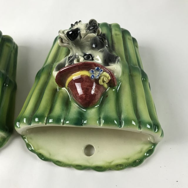 Ceramic 1950s Italian Majolica Poodle Dog Wall Pockets - a Pair For Sale - Image 7 of 13