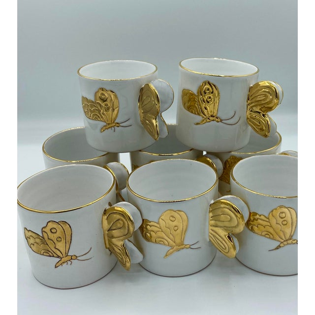 Mid 20th Century Vintage Hollywood Regency Carole Stupell Golden Butterfly Luncheon Plate and Cups - Set of 8 For Sale - Image 5 of 12