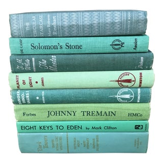 Vintage Mid-Century Teal and Green Collection of Books - Set of 8 For Sale