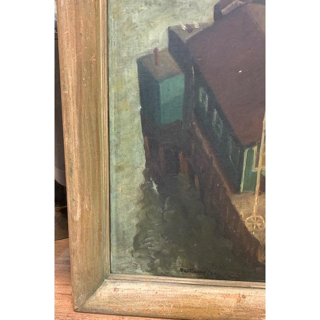 Early 20th Century Wpa Era 1940 Oil Painting - Houseboat - Signed For Sale - Image 5 of 9